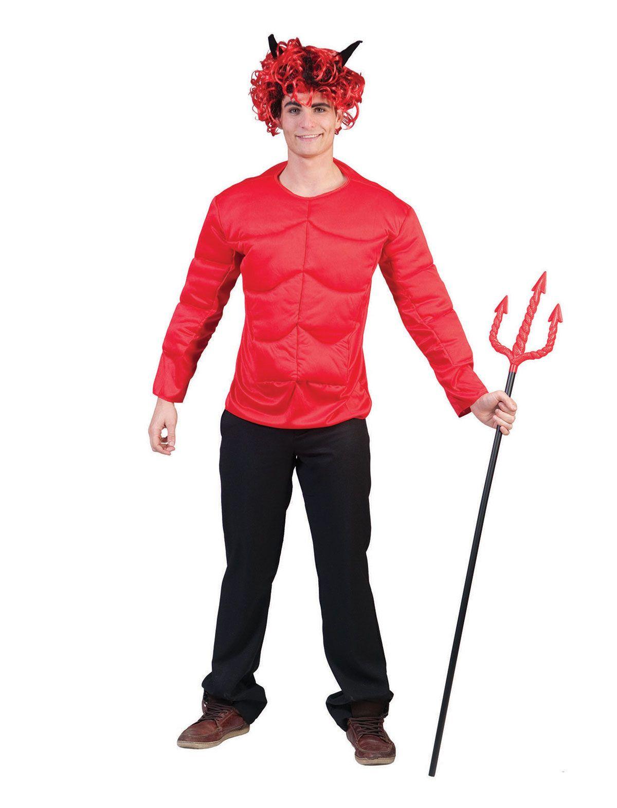 Djævle bluse m/store muskler - Djælve kostume - Bergdahls