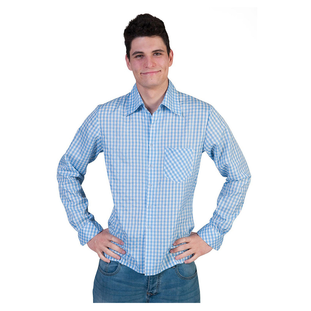 8de75302 Tyroler skjorte Blå/hvid (mand) - Bergdahls Festbutik