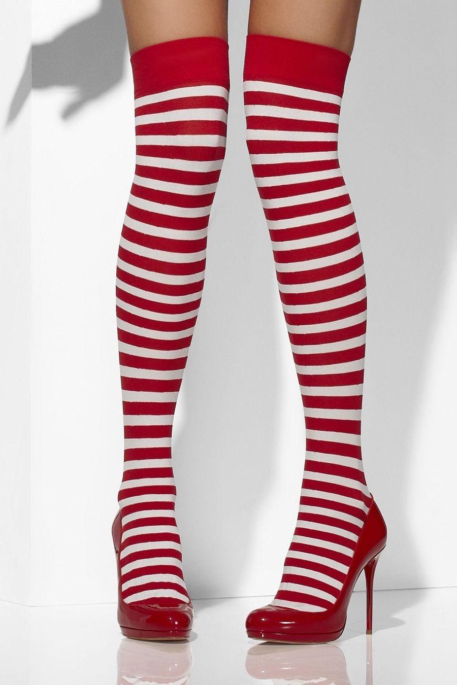 780ee7cf529 Strømpebukser selvsiddende stribet - rød og hvid - Bergdahls Festbutik